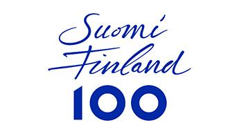 Suomi 100 -vuoden tunnus, jossa on teksti Suomi Finland 100