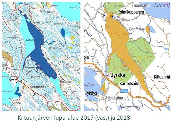 Kiltuanjärven lupa-alueen kartta