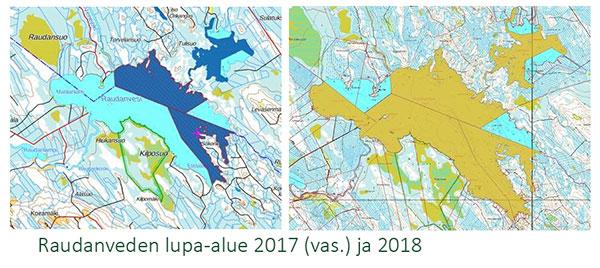 Raudanveden lupa-alueen kartta