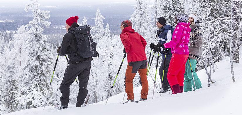 Viisi lumikenkäilijää seisoo korkean vaaran rinteellä katsomassa lumista maisemaa.