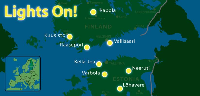Hankekohteita on Suomessa 4 ja Virossa samoin 4.