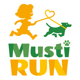 Tunnus, jossa tyttö juoksee koiran kanssa sekä teksti Musti Run.