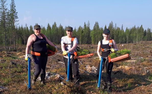 Taivalkosken nuoret istuttajat (Kuva: Marjaana Ahokumpu)