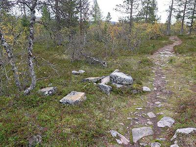 Hajotettu Ruijanpolun kivimerkki. Kuva: Siiri Tolonen, Metsähallitus.
