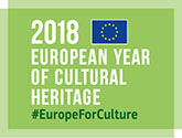 Tunnus, jossa on teksti 2018 European year of Cultural Heritage #EuropeForCulture