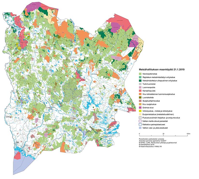 Lapin luonnonvarasuunnitelman maankäyttökartta.