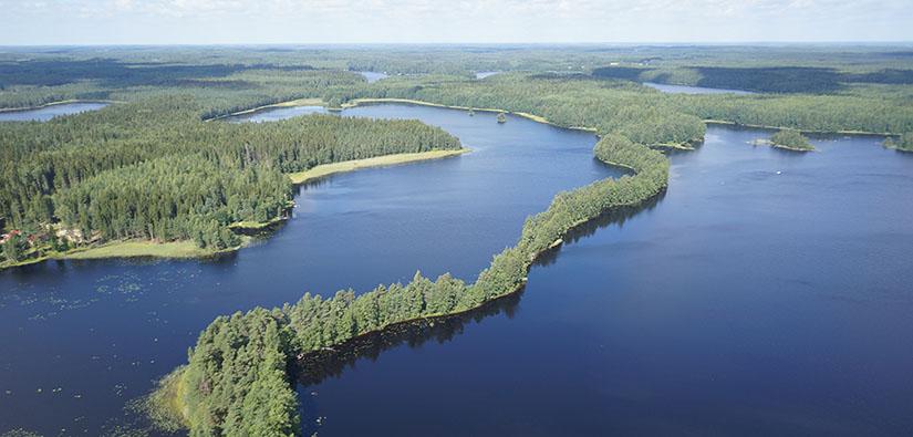 Ilmakuva järvi- ja metsamaisemasta. Järvien välissä kulkee pitkä ja kapea metsäinen harju.