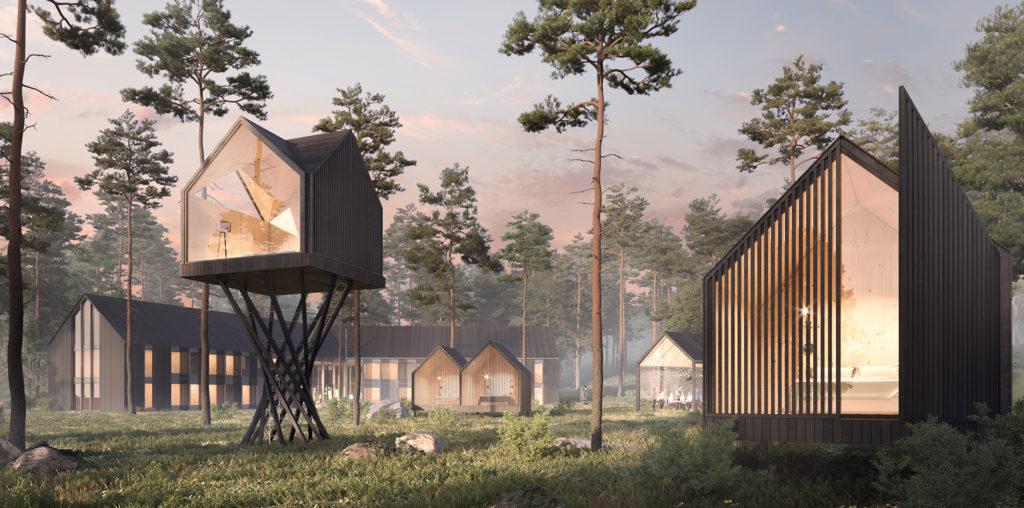 Piirretty havainnekuva, jossa on harvahkossa mäntymetsässä puisia rakennuksia. Etualalla korkeiden jalkojen päällä oleva puumaja, jonka etuseinä on kokonaan lasia.