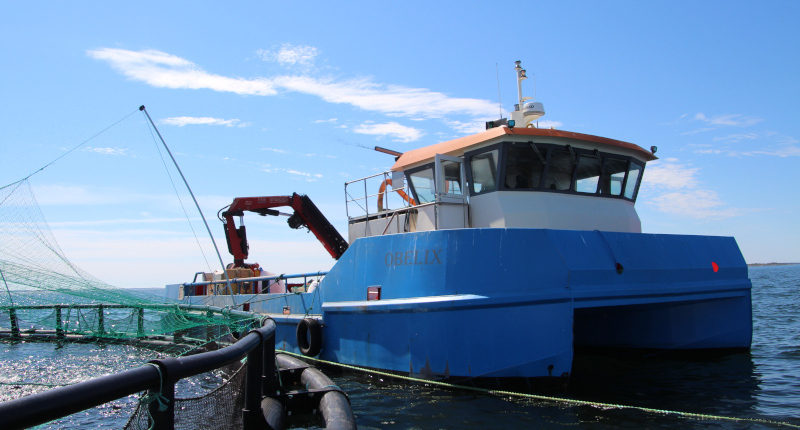 A utility vessel moored beside a cage on an offshore fish farm.