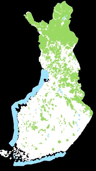 Suomen kartta, jossa merkittynä Metsähallituksen hallinnoimat maa- ja vesialueet.