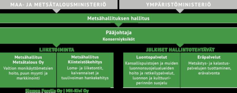 Metsähallituksen organisaatiokaavio. Kaavion sisältö on kerrottu leipätekstissä kaavion alla.