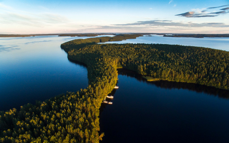 A forested strip of land cuts across a large lake.