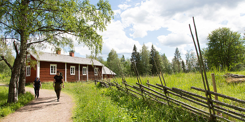 Hikers walking on a path in front of an old timber building on a sunny day. Kovero Crown Tenant Farm, Seitseminen National Park. Photo by Sannamari Ratilainen.