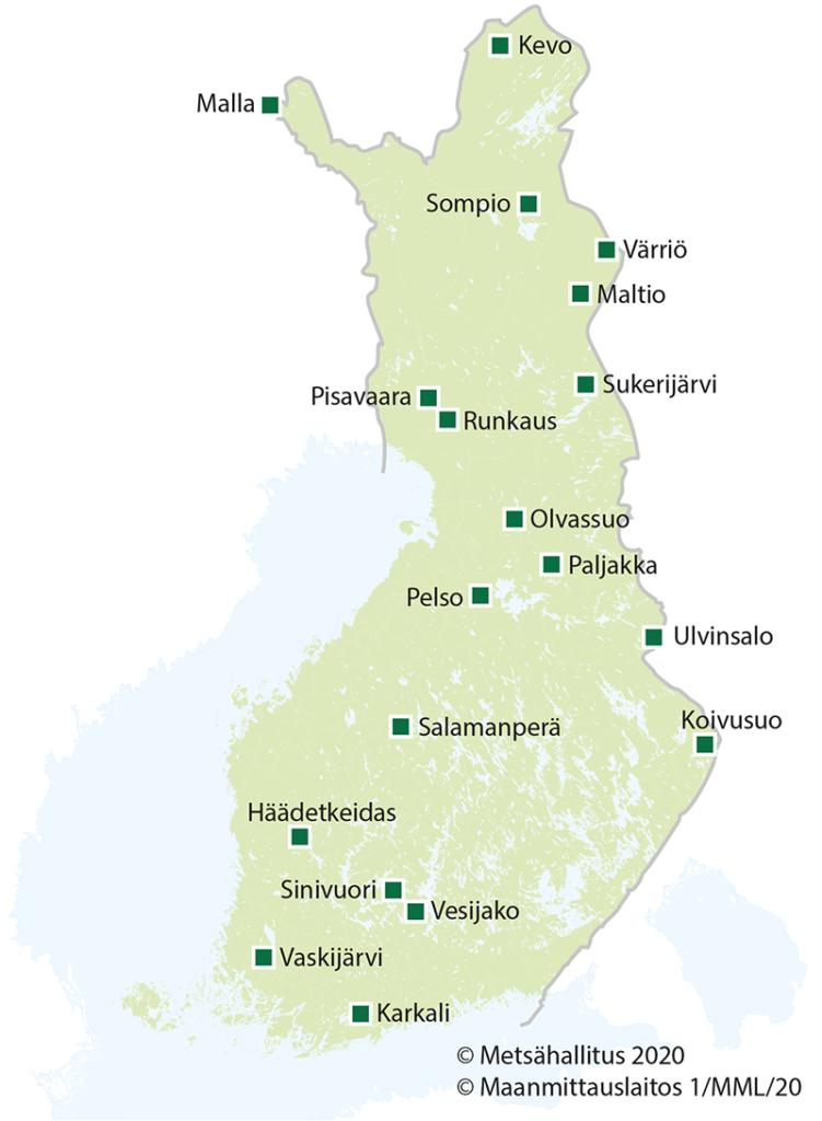Luonnonpuistojen sijainti kartalla.