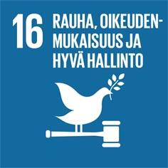 YK:n kestävän kehityksen tavoite numero 16 rauha, oikeudenmukaisuus ja hyvä hallinto.