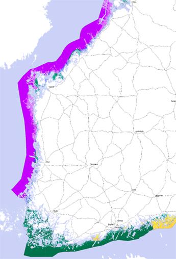 En bild av Finlands kust och områdena utanför kusten producerad av ett lokaliseringsverktyg för fiskodling. Områdena i Bottniska viken och Bottenviken är markerade med violett och områdena i Finska viken med grönt.