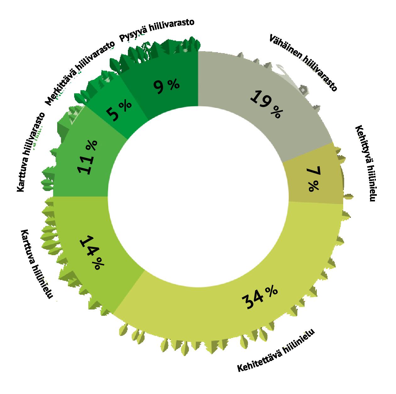 Kuvio kertoo, miten monikäyttömetsät jakautuvat prosentuaalisesti hiililuokituksen mukaan. Luokitukset ja prosentuaalinen jakauma on kerrottu leipätekstissä ennen kuvaa.