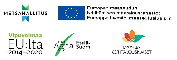 Metsähallituksen, Euroopan maaseudun kehittämisen maatalousrahaston, Vipuvoimaa EU:lta 2014-2020-, Pro Agria Etelä-Suomen ja Maa- ja kotitalousnaiset-tunnukset.
