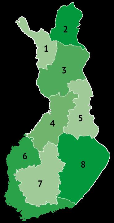 Suomen kartta, joka jaettu kahdeksaan osaan ja numeroitu 1-8. Eri osiin liittyvät alueiden nimet ja yhteyshenkilöt löytyvät leipätekstistä.