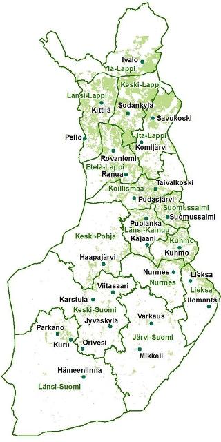 Suomen kartta, jossa esitettynä Metsätalous Oy:n toimipaikat. Niitä on 27 eri puolilla Suomea.