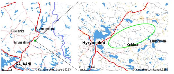 Kivivaaran-Peuravaaran tuulivoimapuiston sijainti kartalla.