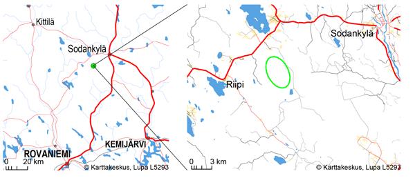 Joukhaisselän tuulivoimapuiston sijainti kartalla.