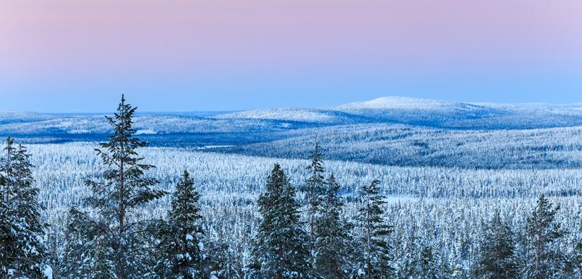 Talvinen maisemakuva Ylläksen tunturista sinipunaisen taivaan alla.