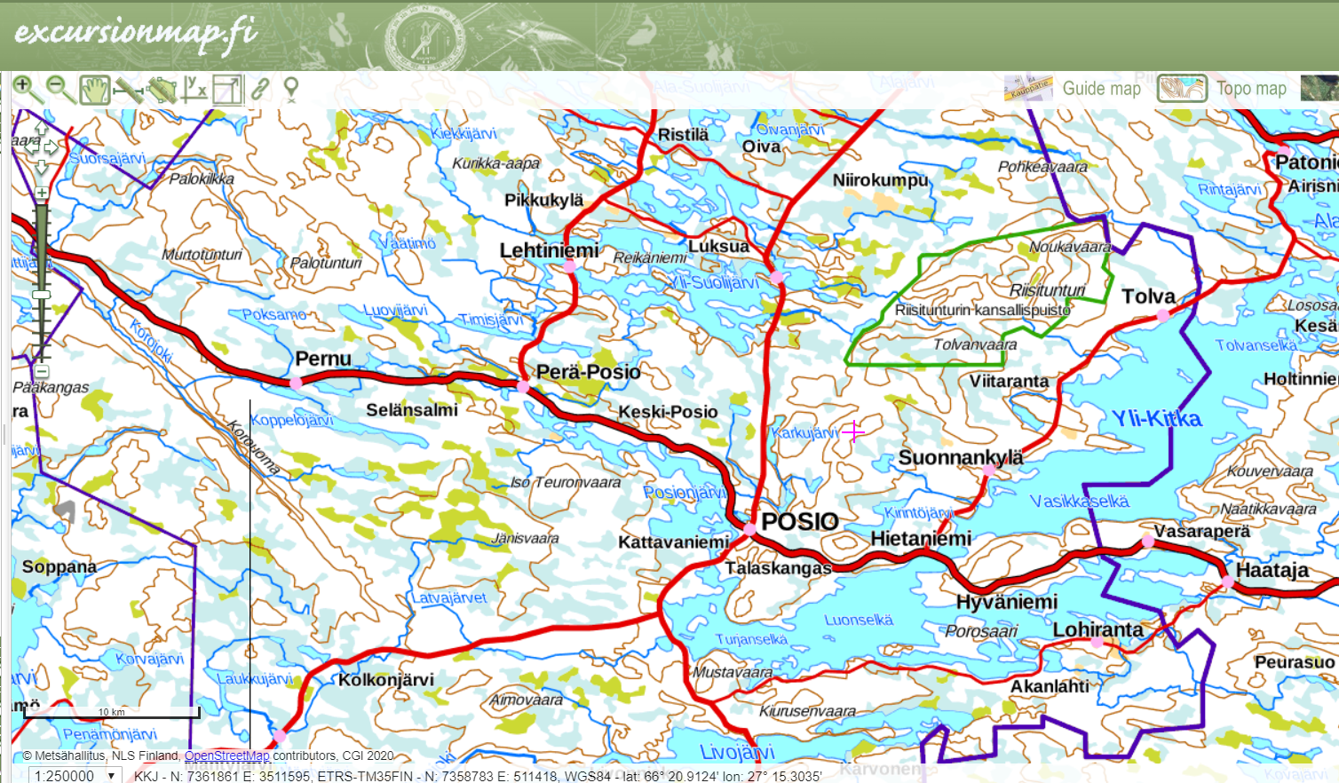 A screen shot from excursionmap-webservice, showing the area of Posio.
