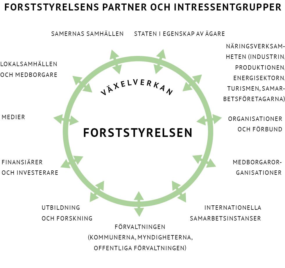 Grafiken berättar Forststyrelsens partner och intressentgrupper, som är staten, näringsverksamheten, organisationer och förbund, medborgarorganisationer, internationella samarbetsinstanser, förvaltningen, utbildning och forskning, finansiärer och inversterare, medier, lokalsamhällen och medborgare och samernas samhällen.