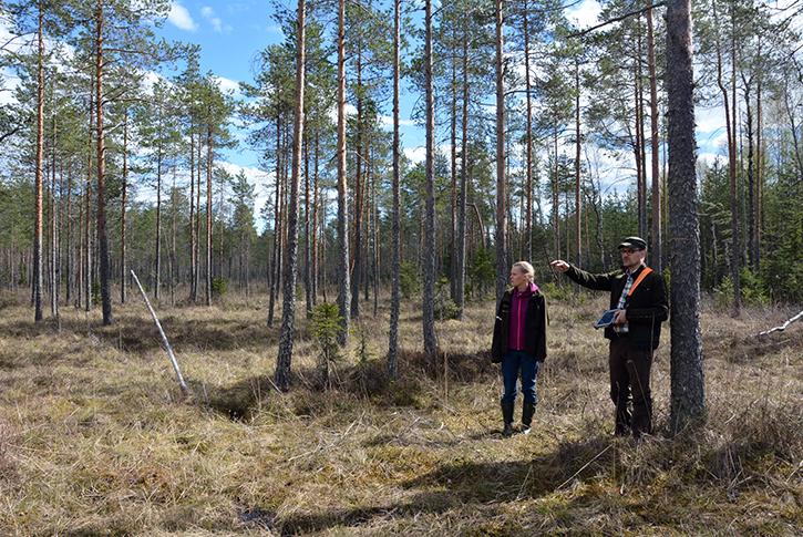 Alue-ekologisen suunnittelun suokohde projektin vetäjä Sini Haapalehti ja suunnittelija Arto Nygren