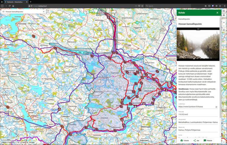 Screenshot of the new Excursionsmap.fi.