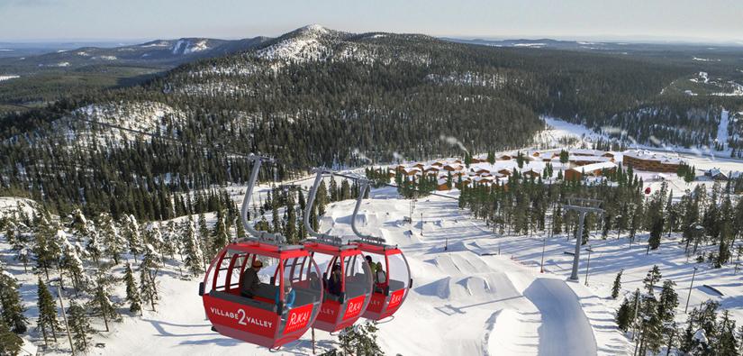 Village to valley gondola lift in Ruka