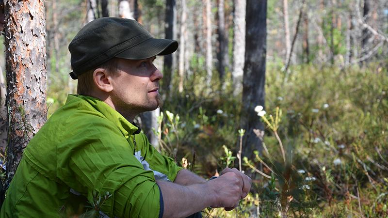 En av Forststyrelsens medarbetare sitter i vårskogen. I bakgrunden visas en solig tallmyr med skvattram i blom.