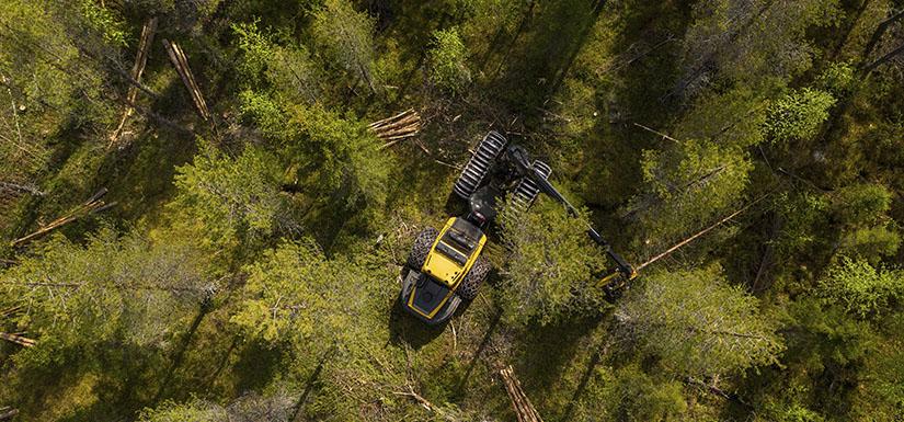 Ilmakuva metsästä, jossa metsätyökone on tekemässä hakkuuta. Kaadettuja puita on pienissä pinoissa ja puita on jätetty paljon pystyyn.