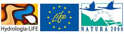 Logon av projektet Hydrologi-LIFE, EU LIFE och Natura 2000.