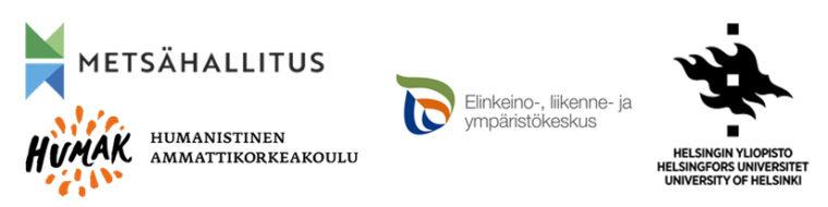 Kuvassa on neljän hankkeeseen osallistuvan kumppanin logot, Metsähallituksen, Humanistisen ammattikorkeakoulun, ELY-keskuksen ja Helsingin yliopiston