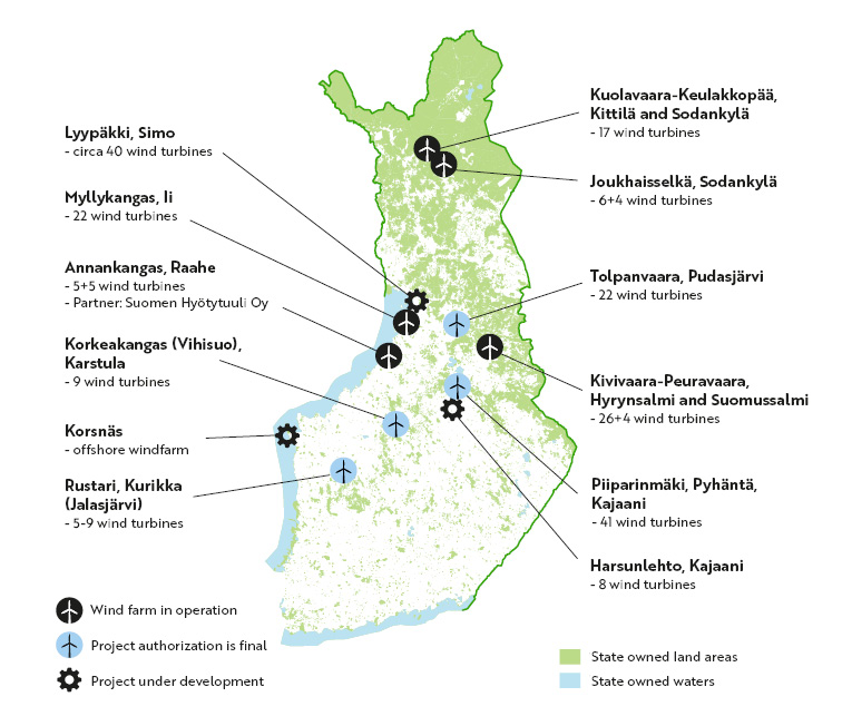 Metsähallitus' wind power projects on the map. The same information is below the map in the text.