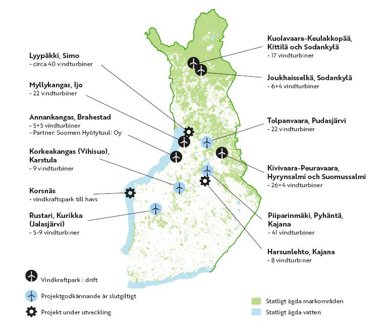 Forststyrelsens vindkraftsprojekt på kartan. Samma information finns under kartan i texten.