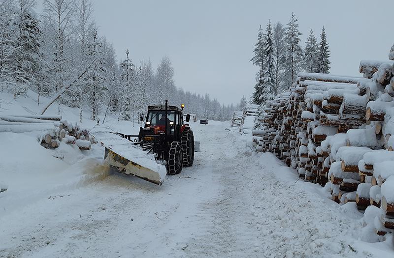 Alueurakoitsija Mikko Honkanen auraa trakrorilla Metsähallituksen talvitietä Valtimolla.
