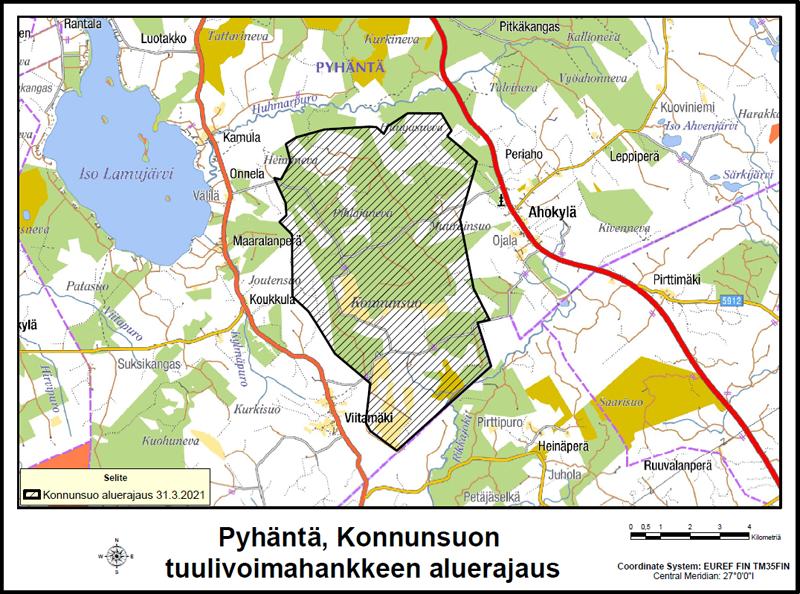Pyhännän Konnunsuon tuulivoimahannkkeen aluerajaus kartalla.