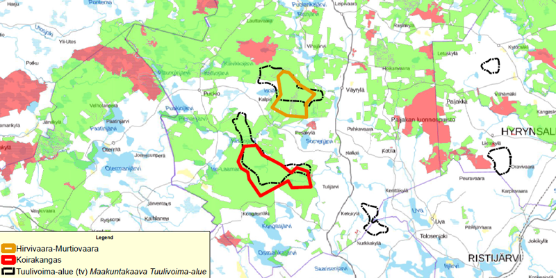 Metsähallituksen Puolangan tuulivoimahankkeiden alueet kartalla.