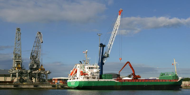 Cargo ship in the port of Vaskiluoto