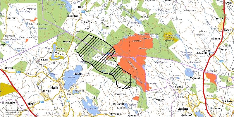 Kartta Kajaanin Harsunlehdon tuulivoimapuiston hankealueesta.