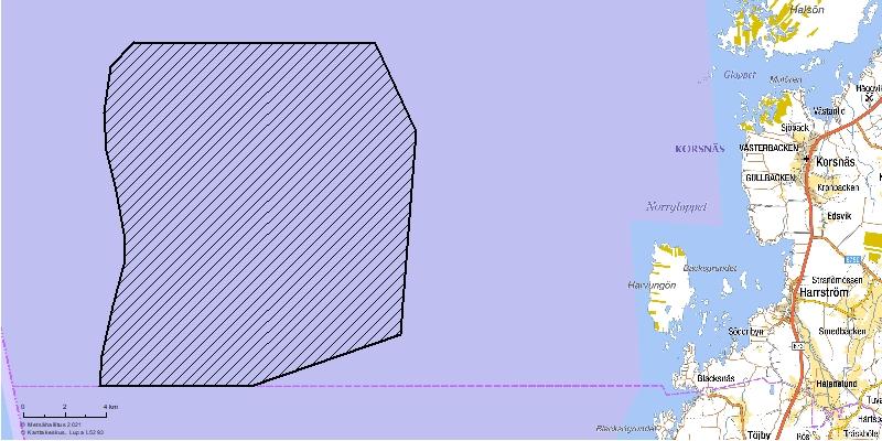 Korsnäs havsbaserade vindkraftspark på kartan