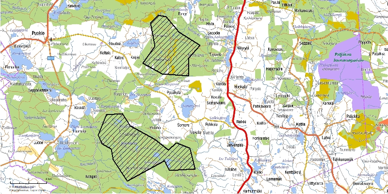 Kartta Puolangan Hirvivaara-Murtiovaaran ja Koirakankaan tuulivoimapusitojen hankealueista.