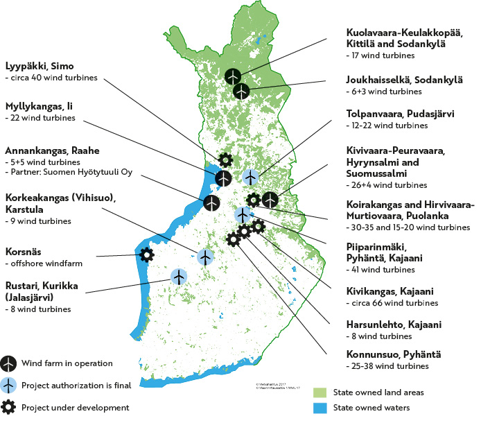 Metsähallitus' wind power sites on the map. The same information is presented on the page in text and tables.