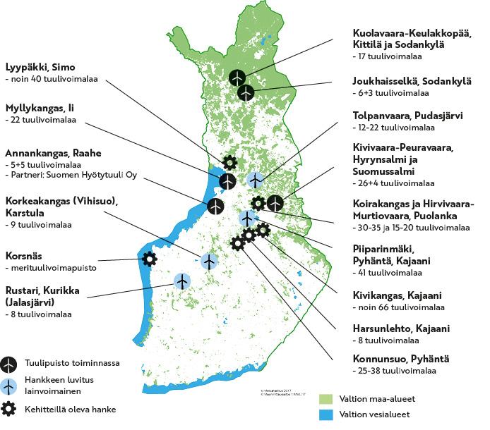 Metsähallituksen tuulivoimakohteet kartalla. Samat tiedot on esitetty sivulla tekstinä ja taulukoina.