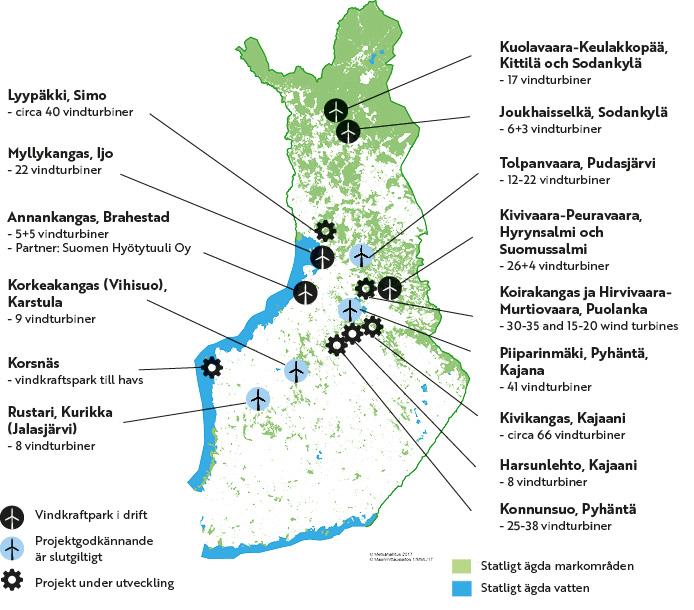 Forstyrelsens vindkraftsplatser på kartan. Samma information presenteras på sidan i text och tabeller.