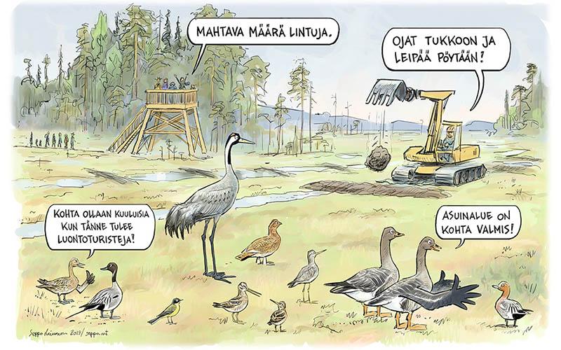 En teckning med olika fåglar som tittar på en grävmaskin täppa dikar på myren. I bakgrunden människor i ett fågeltorn.