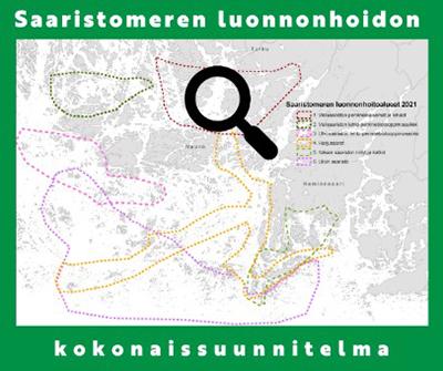Karttakuvassa on Saaristomeren kuuden luonnonhoitoalueen rajaukset.